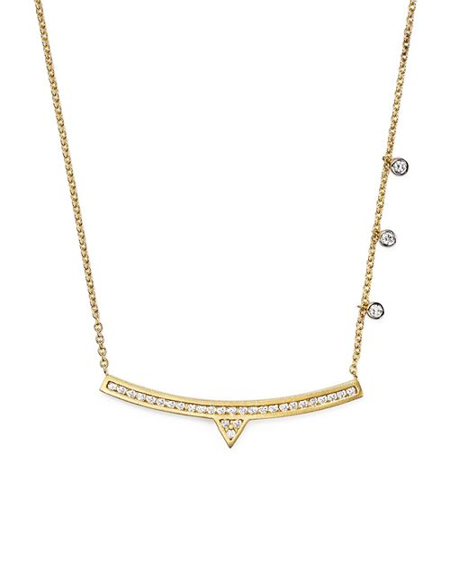 """Meira T - 14K White and Yellow Gold Curved Bar Necklace with Diamonds, 14"""""""
