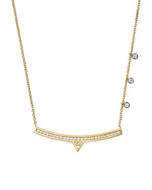 Meira T 14K White and Yellow Gold Curved Bar Necklace with Diamonds, 14