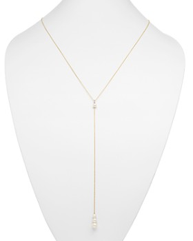 Zoë Chicco - 14K Yellow Gold and Cultured Freshwater Pearl Lariat Necklace with Diamonds, 29""