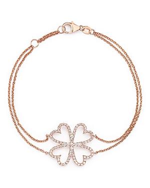 Diamond Four Leaf Clover Bracelet in 14K Rose Gold, .40 ct. t.w. - 100% Exclusive