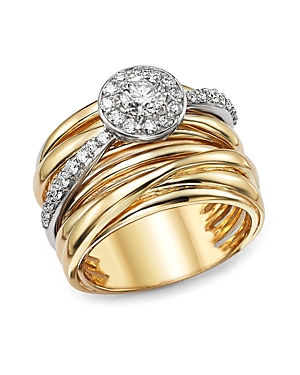 Diamond Pave Multi Band Ring in 14K White and Yellow Gold, .80 ct. t.w. - 100% Exclusive