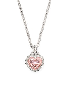 """Judith Ripka - Rapture Heart Pendant Necklace with Pink Crystal, 17"""""""