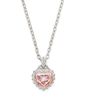 JUDITH RIPKA RAPTURE HEART PENDANT NECKLACE WITH PINK CRYSTAL, 17