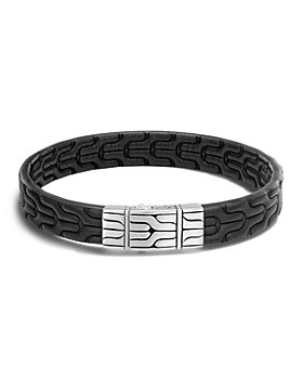 JOHN HARDY - Men's Sterling Silver Classic Chain Bracelet with Black Leather