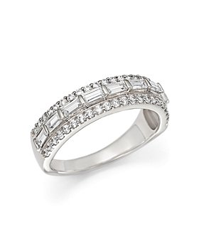 Bloomingdale's - Baguette and Round Diamond Ring in 14K White Gold, 1.0 ct. t.w.- 100% Exclusive
