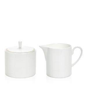 Domenico Vacca by Prouna Alligator White Sugar Bowl & Creamer Set