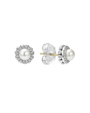 Lagos Sterling Silver Luna Cultured Freshwater Pearl Fluted Stud Earrings with Diamonds
