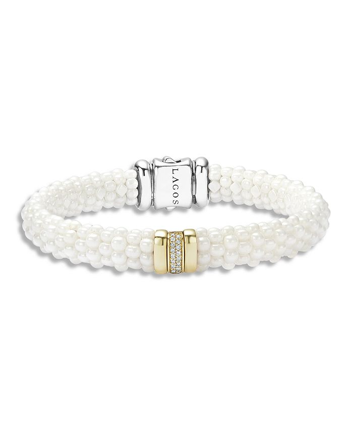 Lagos WHITE CAVIAR CERAMIC AND 18K GOLD STATION BRACELET WITH DIAMONDS