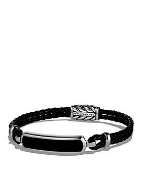 David Yurman - Exotic Stone Station Black Leather Bracelet with Black Onyx