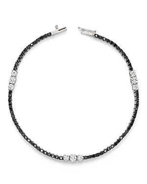 White and Black Diamond Three Station Tennis Bracelet in 14K White Gold - 100% Exclusive