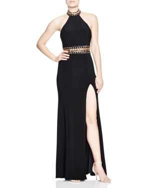 FAVIANA COUTURE EMBELLISHED HALTER GOWN