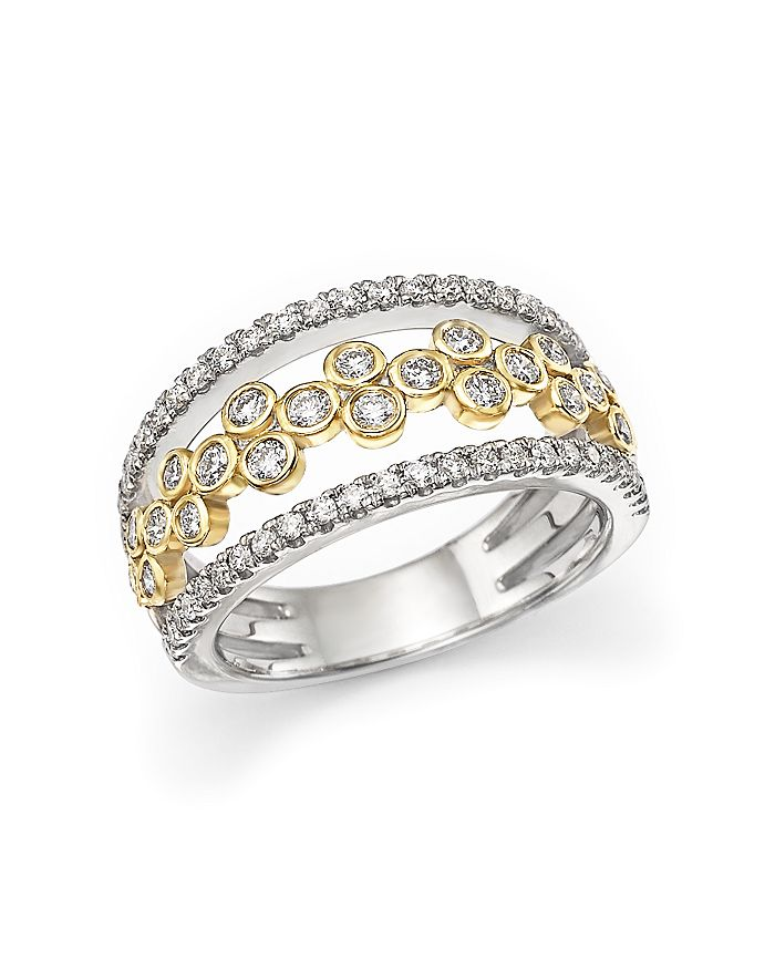 Bloomingdale's - Diamond Triple Row Open Ring in 14K White and Yellow Gold, 0.90 ct. t.w.- 100% Exclusive