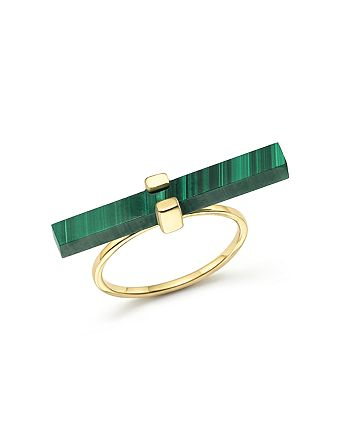 MATEO - 14K Yellow Gold Cross Bar Ring with Malachite