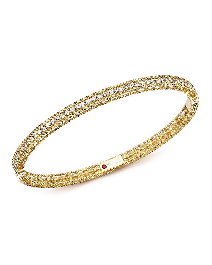 Roberto Coin - 18K Yellow Gold Symphony Braided Bangle Bracelet with Diamonds