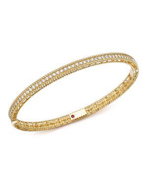 Roberto Coin 18K Yellow Gold Symphony Braided Bangle Bracelet with Diamonds