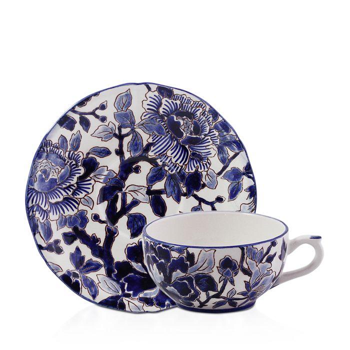 Gien France - Piviones Bleu Tea Cup & Saucer