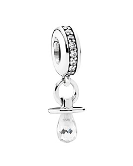 Pandora - Sterling Silver & Cubic Zirconia Pacifier Dangle Charm