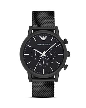 Emporio Armani Quartz Chronograph Black Leather Watch, 41 mm