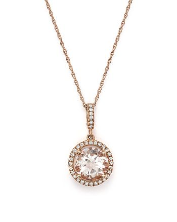 "Bloomingdale's - Morganite and Diamond Pendant Necklace in 14K Rose Gold, 18"" - 100% Exclusive"