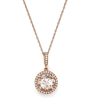 Morganite and Diamond Pendant Necklace in 14K Rose Gold, 18 - 100% Exclusive