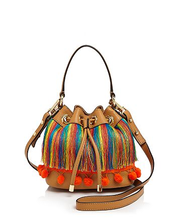 MILLY - Small Pom-Pom Drawstring Bucket Bag