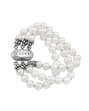 Lagos 18K Gold and Sterling Silver 3 Strand Freshwater Pearl Bracelet