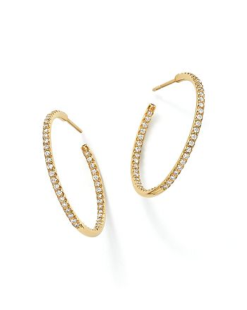 Roberto Coin - Roberto Coin 18K Yellow Gold Micropave Diamond Hoop Earrings
