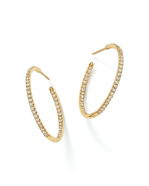 Roberto Coin 18k Yellow Gold Micropave Diamond Hoop Earrings