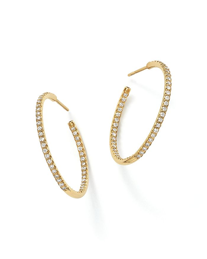 Roberto Coin - 18K Gold Micro Pavé Diamond Large Hoop Earrings, 0.98 ct. t.w.