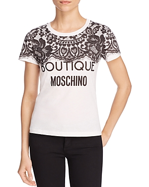 Boutique Moschino Lace Print Logo Tee