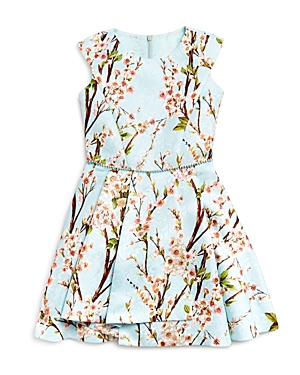 David Charles Girls' Cherry Blossom Pleated Dress - Big Kid