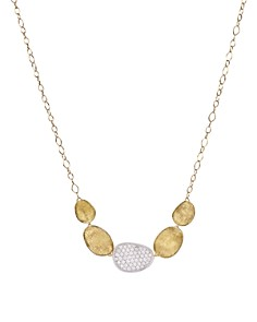 "Marco Bicego - 18K White and Yellow Gold Lunaria Diamond Half Collar Necklace, 16.5"""