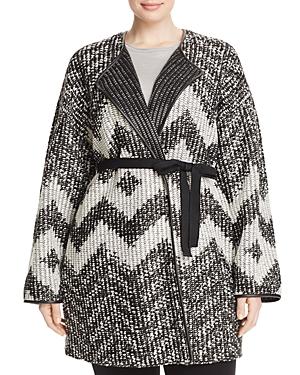Basler Plus Chevron Knit Belted Cardigan