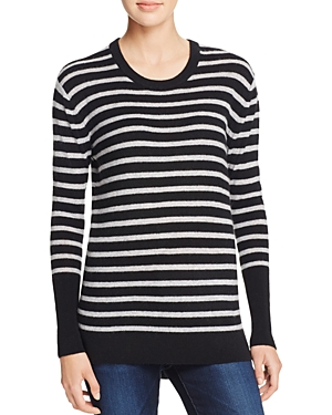 Aqua Cashmere High/Low Stripe Cashmere Tunic Sweater - 100% Exclusive