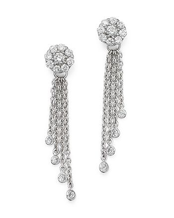 Bloomingdale's - Diamond Cluster Tassel Earrings in 14K White Gold, .45 ct. t.w.- 100% Exclusive