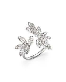 Bloomingdale's - Diamond Pavé Leaf Ring in 14K White Gold, .85 ct. t.w. - 100% Exclusive