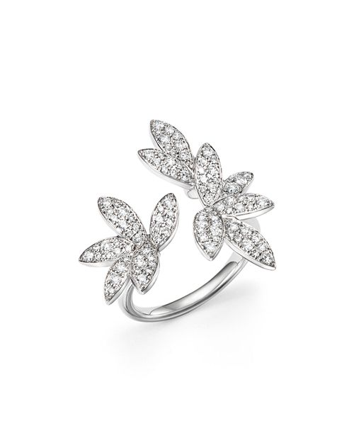 Bloomingdale's - Diamond Pavé Leaf Ring in 14K White Gold, .85 ct. t.w.- 100% Exclusive
