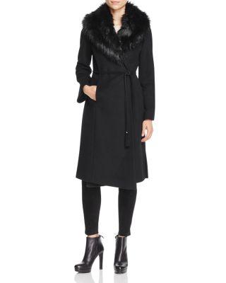 Belted Faux Fur-Trim Wrap Maxi Coat, Black