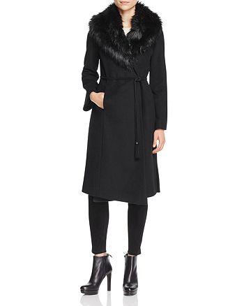 Via Spiga - Belted Faux Fur-Trim Wrap Maxi Coat