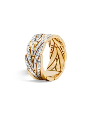 John Hardy 18K Yellow Gold Modern Chain Band Ring with Diamonds