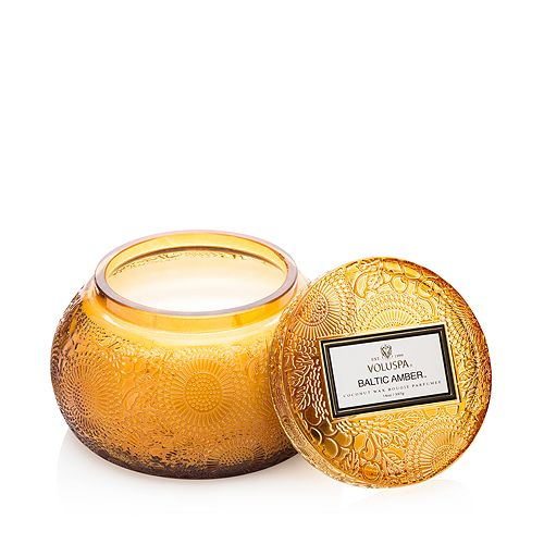 Voluspa - Japonica Baltic Amber Embossed Glass Chawan Bowl Candle
