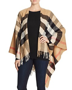 Burberry Collette Merino Wool & Cashmere Check Cape - Bloomingdale's_0