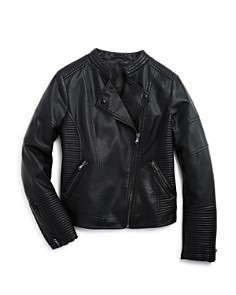 AQUA - Girls' Quilted Faux-Leather Moto Jacket, Big Kid - 100% Exclusive