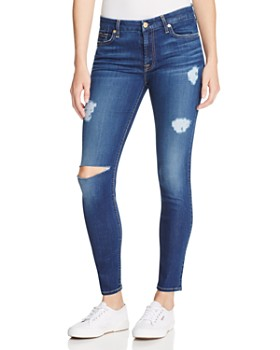 7 For All Mankind - B(air) Destroyed Skinny Ankle Jeans in Duchess