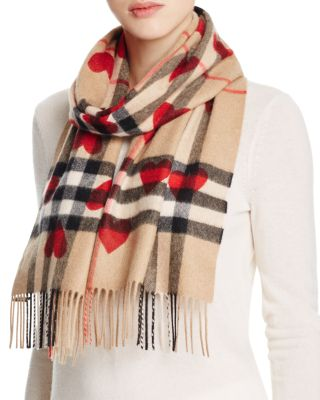 $Burberry Heart Print Giant Check Reversible Cashmere Scarf - Bloomingdale's