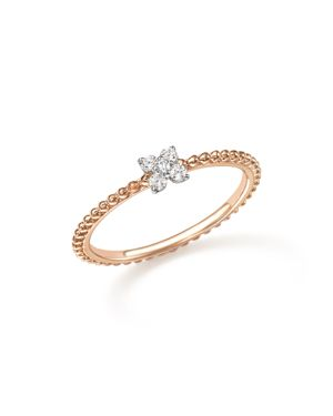 Diamond Cluster Beaded Ring in 14K Rose Gold, .10 ct. t.w. - 100% Exclusive