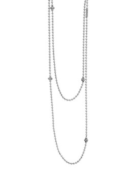 """LAGOS - Sterling Silver Chain Necklace with Caviar Icon Stations, 36"""""""