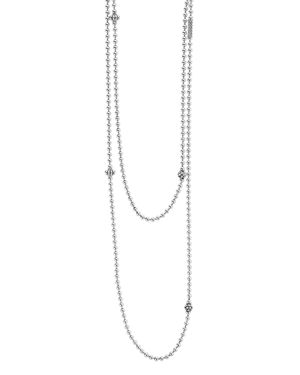 Lagos Sterling Silver Chain Necklace with Caviar Icon Stations, 36