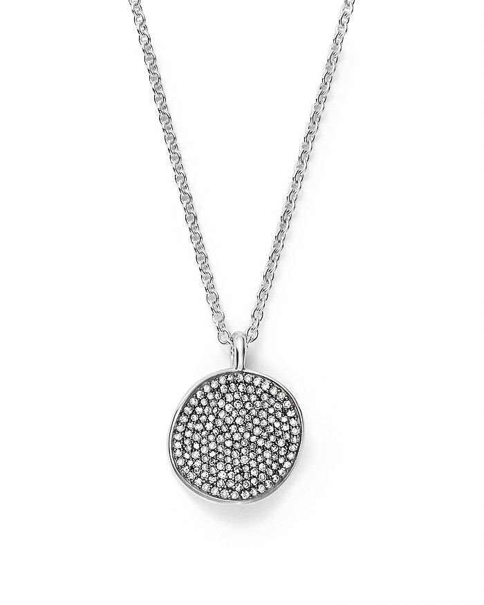 """IPPOLITA - Sterling Silver Glamazon® Stardust Small Pavé Disc Necklace with Diamonds, 16"""" - 100% Exclusive"""