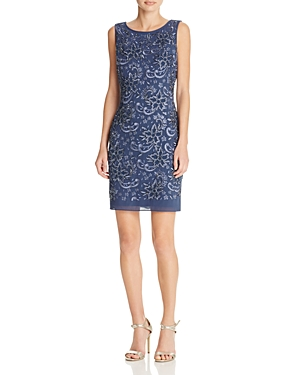 Aidan Mattox Floral Beaded Cocktail Dress